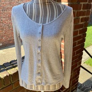 Pink Rose Grey Ribbed Button Up Sweater